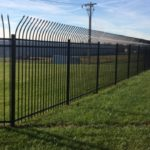 Tall Black Outward Bending Speartop Aluminum Fence