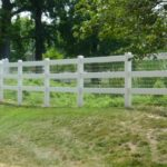 White Three Rail Ranch Rail with White Liner