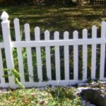 White PVC Scalloped Picket Fence with French Gothic Post Caps