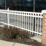 Flattop Railing in White with Circles and Ballcaps on Posts